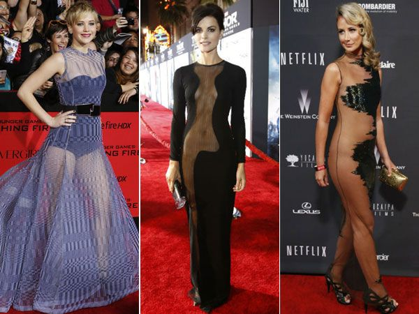 Celebrities these days are taking the term 'Less is more' to another new level with their peek-a-boo sense of style. Sheer clothes have taken the fashion world by storm as celebrities walk the red carpet in outfits that hardly cover their assets. Here are some risque gowns we spotted on some of our favourite celebrities.Image courtesy: Reuters