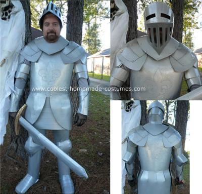 Homemade Knight In Shining Cardboard Costume  Made this a couple of years ago for Chance. Everyone LOVED it. really easy too. used poster board because it was more pliable.made it again last year for Rylan and Skylar wants it in black to be a dark knight this year.