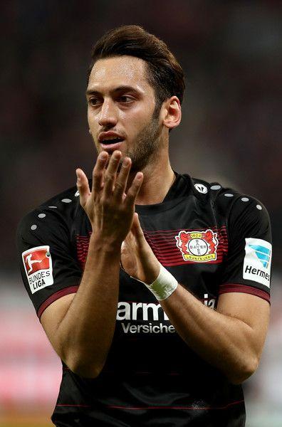Hakan Calhanoglu of Bayer Leverkusen gestures during the Bundesliga match between Bayer 04 Leverkusen and Borussia Moenchengladbach at BayArena on January 28, 2017 in Leverkusen, Germany.