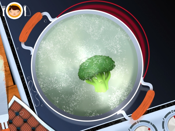 Boiling broccoli in Toca Kitchen by Toca Boca. http://itunes.apple.com/us/app/toca-kitchen/id476553281?mt=8