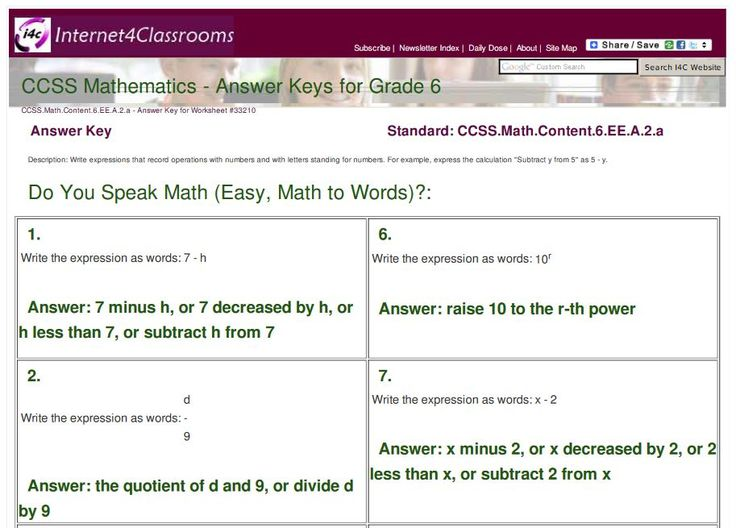 """New Answer Keys Available: 6th Grade: Do You Speak Math (Easy, Math to Words)? (CCSS.Math.Content.6.EE.A.2.a)    Internet4Classrooms has answer keys available for 100 printable worksheets for 6th graders to work on """"Do You Speak Math? (Easier Problems, Math to Words)""""    Here is a shortened URL to this set of answer keys: http://i4c.xyz/yc2pl54q.    A username and password is required to access the answer keys, but you can sign up for free answer key access here: http://i4c.xyz/n89msyv…"""