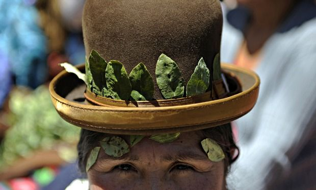 An Aymara woman takes part in the celebration of the national day of acullicu, the practice of coca chewing, in La Paz, Bolivia. Photograph: Jorge Bernal