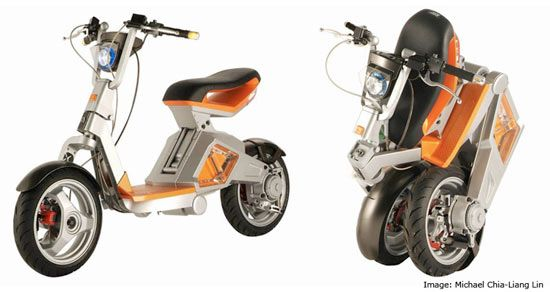 a wide section of some electric motorcycles and scooters that may soon be on a street near you.