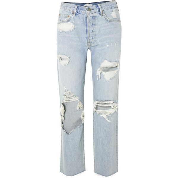 GRLFRND Helena distressed high-rise straight-leg jeans (5.125.280 IDR) ❤ liked on Polyvore featuring jeans, vintage jeans, blue ripped jeans, high rise straight leg jeans, high-waisted jeans and blue distressed jeans