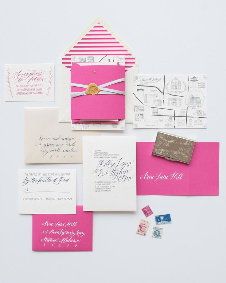 fuchsia wedding invitations, bright pink wedding invitation, whimsical wedding invitation, hand lettered, striped envelope liner, wax seal, vintage stamps