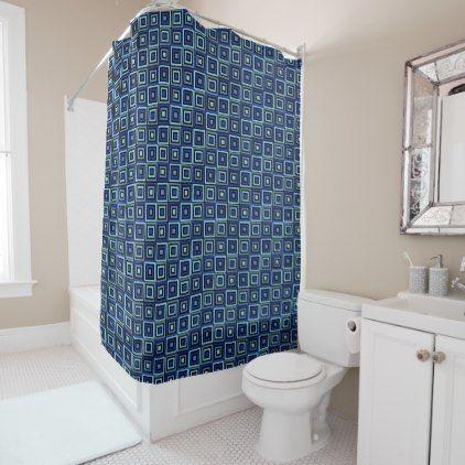 Bold Blocks Blue Shower Curtain - shower curtains home decor custom idea personalize bathroom