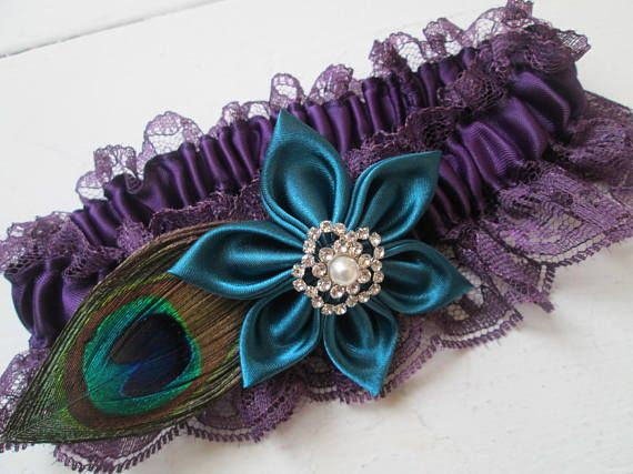 Teal & Purple Wedding Garter, Peacock Garter, Purple Bridal Garter with Teal Kanzashi Flower, Lace Purple Prom Garter, Rustic Country Bride