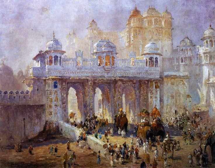 Palace gate udaipur india india painting india poster