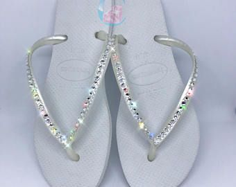 White Havaianas Covered In SWAROVSKI Crystal Bling Flip Flops - 1 Row