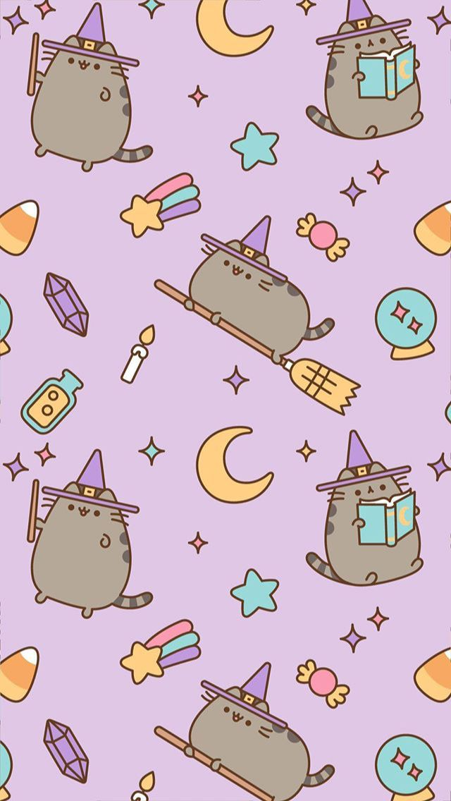 Witch Pusheen Phone Wallpaper Background Halloween Wallpaper Iphone Witch Wallpaper Pusheen Cute