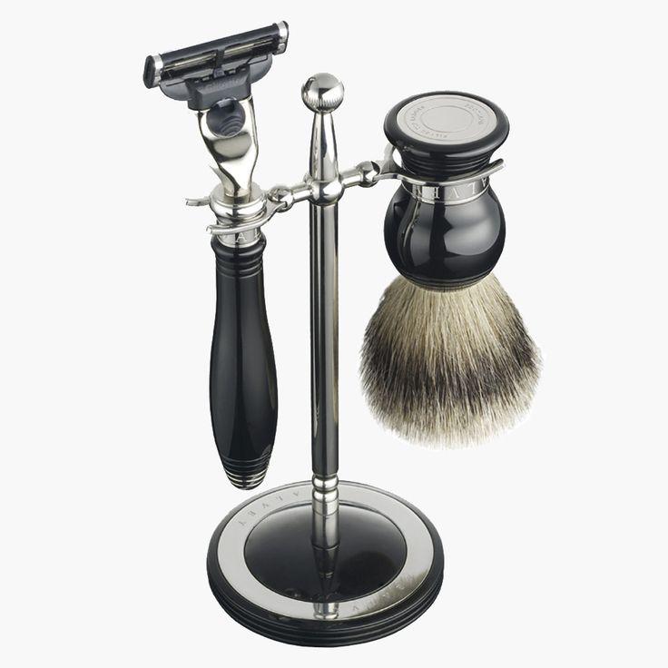Dalvey - Rasierset schwarz, 3-teilig  Eleganter Edelstahl Ständer mit Rasierer aus Edelstahl und -harz, Rasierkopf Gillette® Mach3 ™, Rasierpinsel aus reinem Dachshaar (Best Badger).