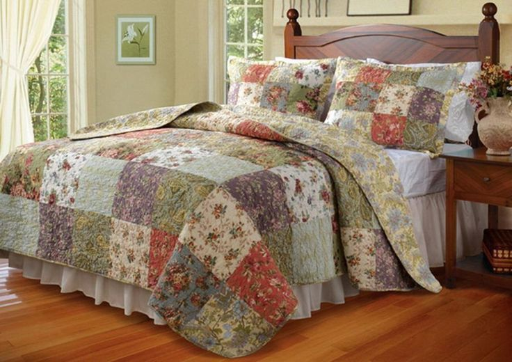 French Country Cottage Patchwork 100-percent Cotton Quilt Bedspread Set Oversized (to the floor) - Luxury soft cotton reversible bedding ensemble for an awesome Country Cottage bedroom decor
