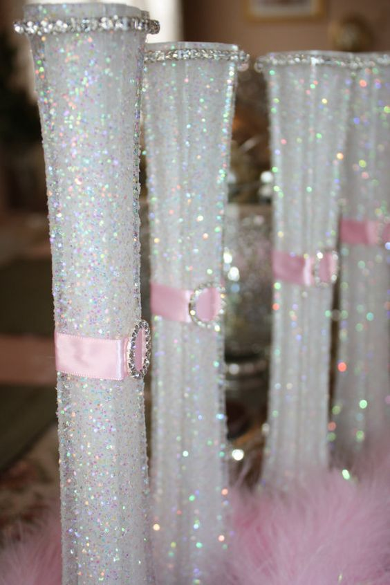 Wedding Glittered Centerpiece White Pink Eiffel Tower Bud Vase Special Occasion FREE SHIPPING on