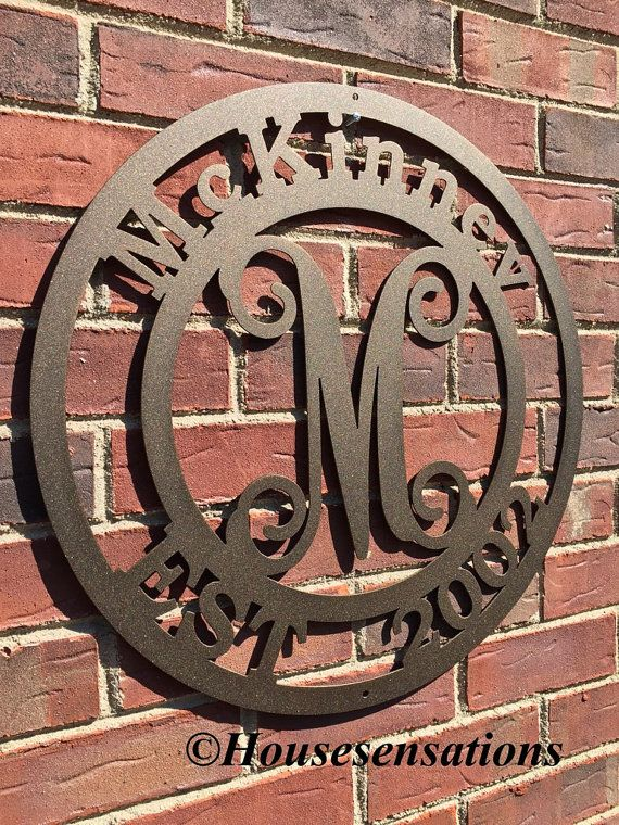 "Established Family Last Name Monogram Sign,Metal monogram door hanger,Custom Family Sign, ,Personalized last name sign, 24"" round"