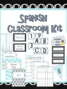 Beautiful Spanish classroom décor kit, posters and teacher binder. Everything I need!