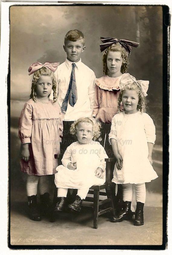Digital Vintage Photograph of Cute Kids by jane77