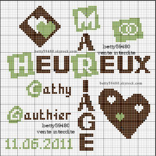 amour - love - mariage -  point de croix - cross stitch - Blog : http://broderiemimie44.canalblog.com/