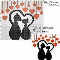 Lovely cats with red hearts free cross stitch pattern 100x92 2 colors