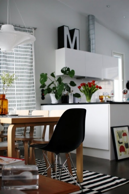 Via Aniliini   Dining Room   Eames DSR Chair   Ikea Stockholm Rand Rug