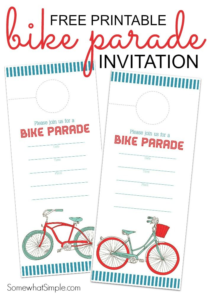 Free Printable Bike Parade Invitation - 4th of July - Independence Day - Party - Kids Activity - Summer
