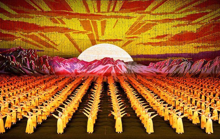 Human billboard mosaics from North Korean Mass Games by Werner Kranwetvogel