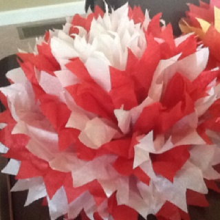 Homemade Tissue poms for party decorations