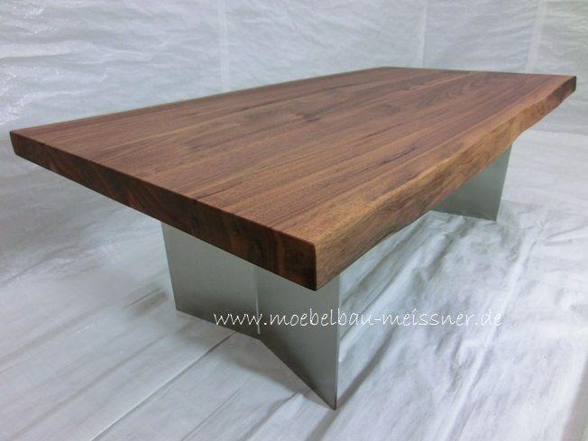 Nussbaum Edelstahlwange In V Form Mit Nut Designer Couchtisch Cistus Esstisch Massiv Tisch Tische Aus Stammbohlen Industrie Design