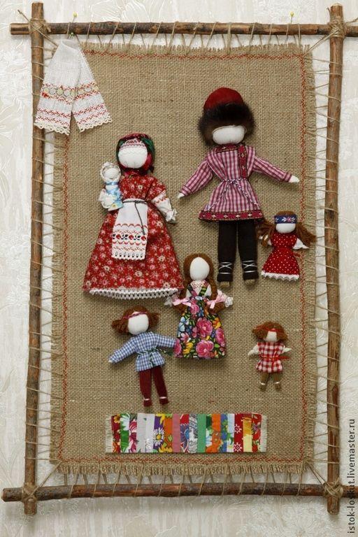"""Купить Панно """"Семейный портрет"""" - народная кукла, семейный очаг, семейный оберег, дети, материнство"""
