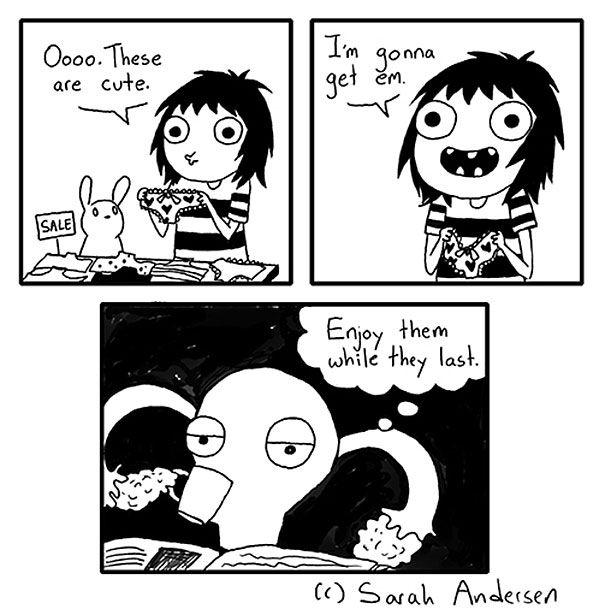 """Sarah C. Anderson tem um olhar bastante curioso e engraçado sobre o que é ser uma mulher moderna na atualidade.Em sua série """"Sarah's Scribbles"""" ela publica quadrinhos autobiográficos em quenarra sagas femininas com namorados, no trabalho, a..."""