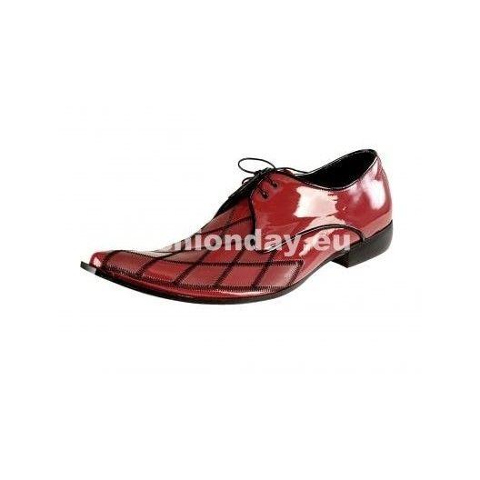 Pánske kožené extravagantné topánky lesklé červené - fashionday.eu