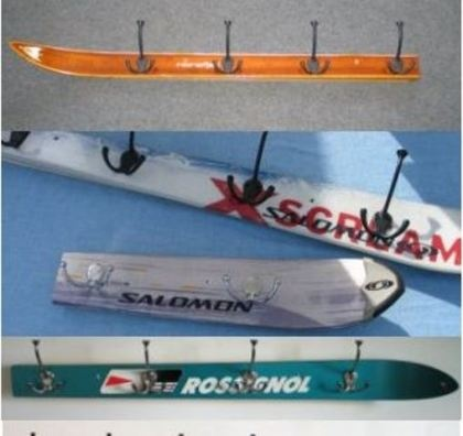 """Need to make one of these for the ski house, will all the """"old"""" skis we have: recycled ski racks"""