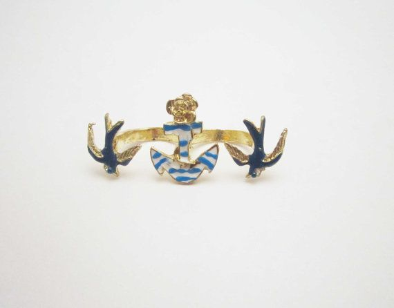 Rhinesstones and enamel double blue bird and by NewUsedVintage, $5.00