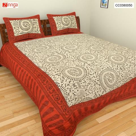 CLICK CORPORATION-Beautiful Multi Color Jaipuri Sanganeri Cotton BedSheet  - CC0380050