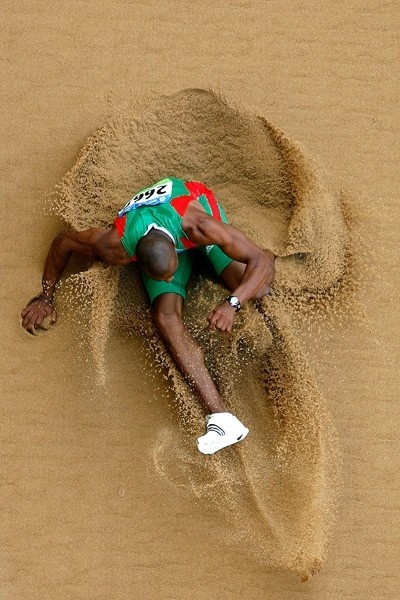 Nelson Évora of Portugal landing in the sandpit at Beijing 2008. It was at Beijing that the 2007 World Champion became the 2008 Olympic Champion.