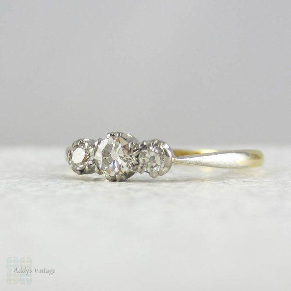 Art Deco Diamond Trilogy Engagement Ring. Three Stone Diamond Ring in Yellow Gold & Platinum, Circa 1910s - 1920s.