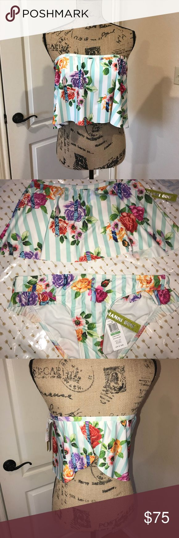 Gianni Bini two piece swimsuit Adorable two piece swimsuit, brand new with tags still attached! The bottoms are a size large and the top is a size small. The top is also padded but the padding can be removed. The sanitation sticker is not on the bottoms however they are brand new and still have tags as well. Each piece retailed for over 50.00! Purchased from Dillard's department store.   ❌NO TRADES PRICE IS FIRM Gianni Bini Swim Bikinis