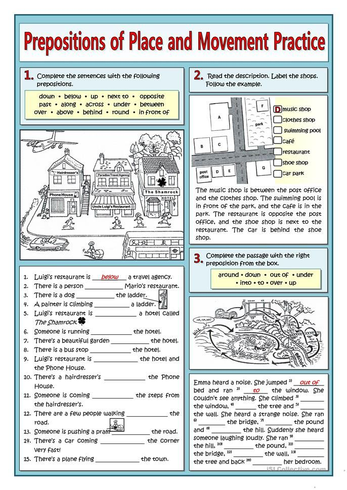 PREPOSITIONS OF PLACE AND MOVEMENT PRACTICE English ESL