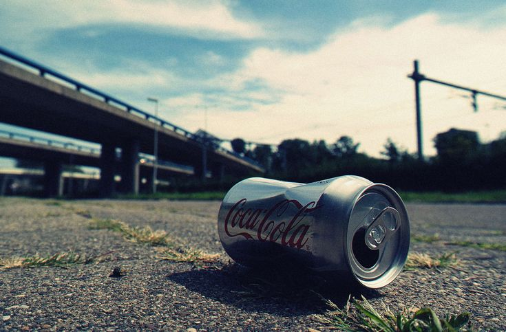 #asphalt #automobile #can #close up #close up view #coca cola #field #freeway #highway #industry #landscape #light #low angle shot #outdoors #road #shadow #street #sunset #track #transportation system #trash #travel #v