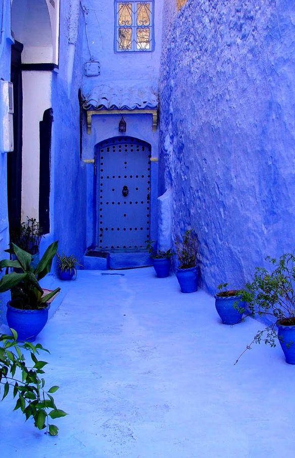 Chechaouen. Morocco. Photo by by ptxgarfield. Gourgous blue light, paint, door, walkway, glow, flower pots. Please also visit www.JustForYouPropheticArt.com for colorful inspirational prophetic art and stories. Thank you so much! Blessings!