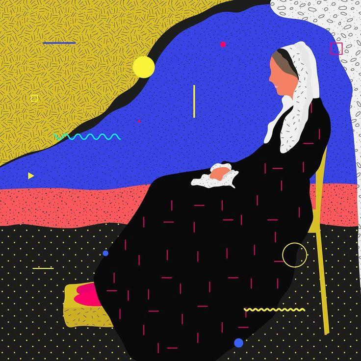 Famous Paintings Interpretation Whistler's Mother  ___________________________________ ... #illustration #painting #whistler #mother #geometric #graphicdesign #color #classic #ewelinagaska #pattern #old #fashion #warsaw #polishart #lovemyjob #lovemylife #me #happy #series #workinprogress #behance #gfxmob #fubiz #instagood #daily #flat #polishgirls #artist #designinspiration #creativesnack
