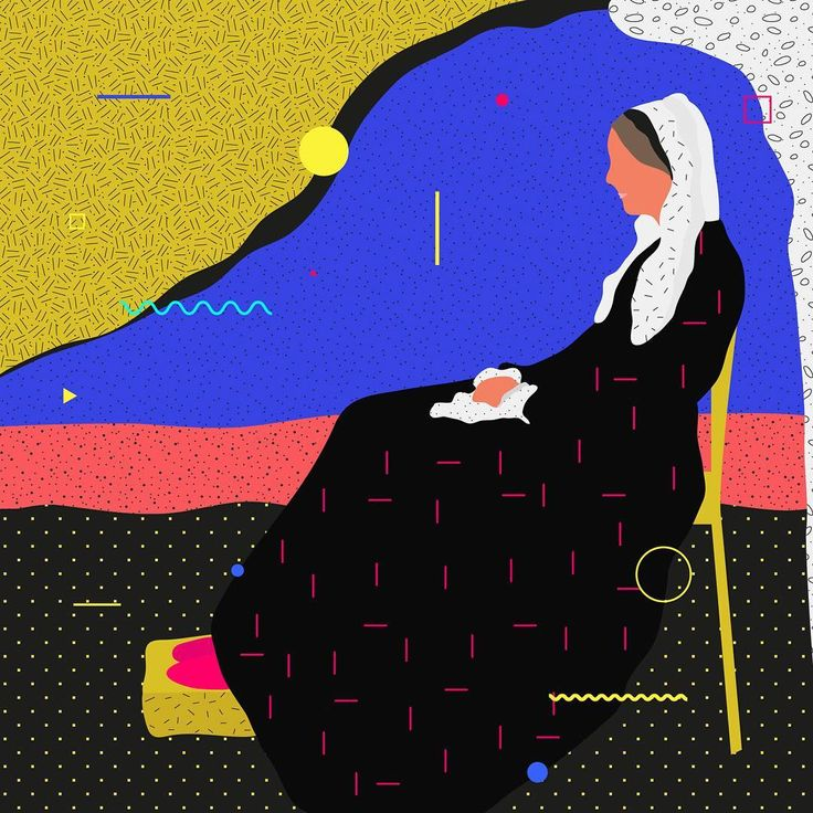 Famous Paintings Interpretation Whistler's Mother  ___________________________________ ... #illustration #painting #whistler #mother #geometric #graphicdesign #color #classic #ewelinagaska #pattern #old #fashion #warsaw #polishart #lovemyjob #lovemylife #me #happy #series #workinprogress #behance #gfxmob #fubiz #instagood #daily #flat #polishgirls #artist #designinspiration #creativesnack