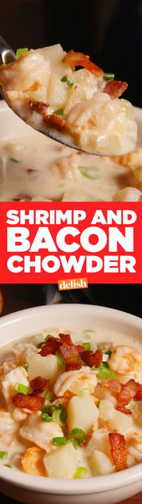 Shrimp & Bacon Chowder will steal your love from clam chowder. Get the recipe from Delish.com.