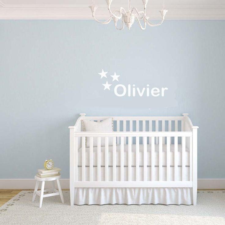 Babykamer of kinderkamer Muursticker naam 3 sterren