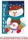 Winter Snowman Applique Garden Flag