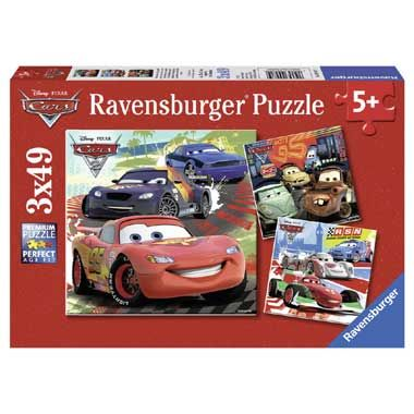 Ravensburger Cars 2 puzzel 3 x 49 stukjes  Drie prachtige Ravensburger puzzels met stoere afbeeldingen uit de Disney film Cars 2. Jongens kunnen hun lol op met deze mooie puzzels met Bliksem McQueen en zijn vrienden. De puzzels bestaan uit 49 stukjes.  EUR 10.99  Meer informatie