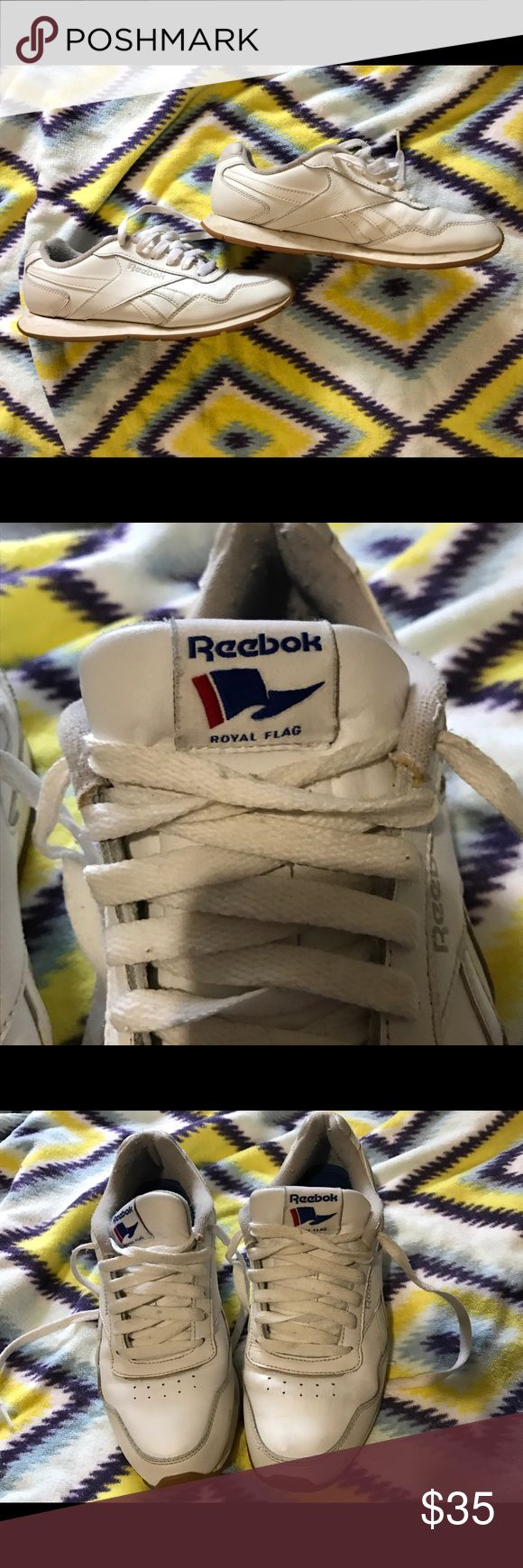 Vintag Reebok Classics Royal Flag Sneakers Shoes For sale are a pair of size 8 Reebok vintage shoes. They are white with a gum bottom. Very cool and old school. Reebok Classic back in the day. Ships same day. Reebok Shoes Sneakers