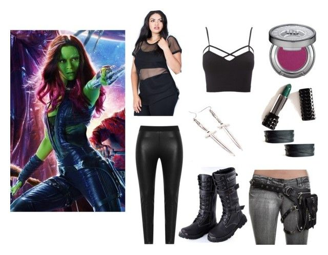 """""""Gamora Style Vol 1"""" by lootcrate ❤ liked on Polyvore featuring Zizzi, Charlotte Russe, Kat Von D, Urban Decay, MDKN and plus size clothing"""