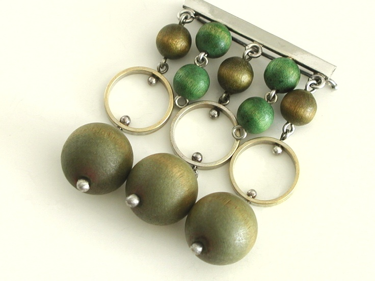 Aarikka Finland Modernist Vintage Pin in Greens
