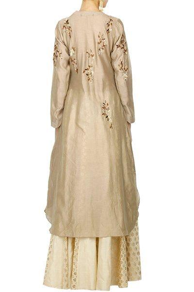 Kurta Sets/Salwar Kameez, Clothing, Carma, Beige embroidered kurta with flared panelled skirt ,  ,  ,  ,  ,  ,  ,  ,  ,  ,  ,  ,  ,