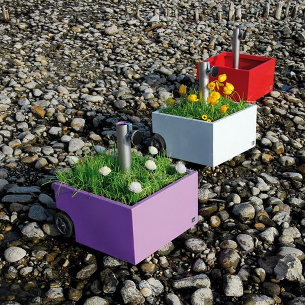 Umbrella Stand And Flower Pot On Wheels